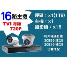 16路海康主機TVI 720P