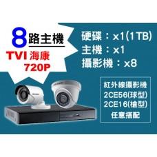 8路海康主機TVI 720P
